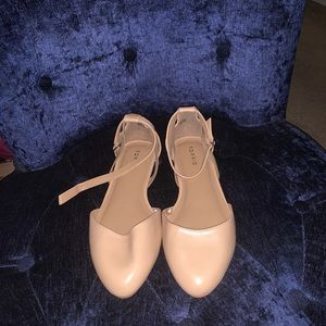 Beige Ankle Strap Flats